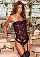 Satin And Lace Corset Red/blk M