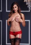 Red Rose Open Crotch Boyshort Panty Lg