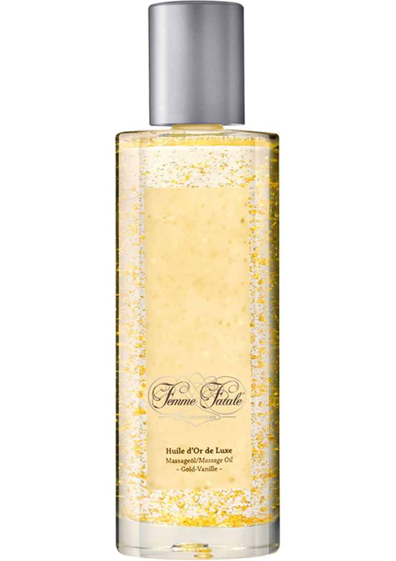 Femme Fatale Huile D`or De Luxe Massage Oil With Pure Gold Shavings Vanilla 3.4 Ounce